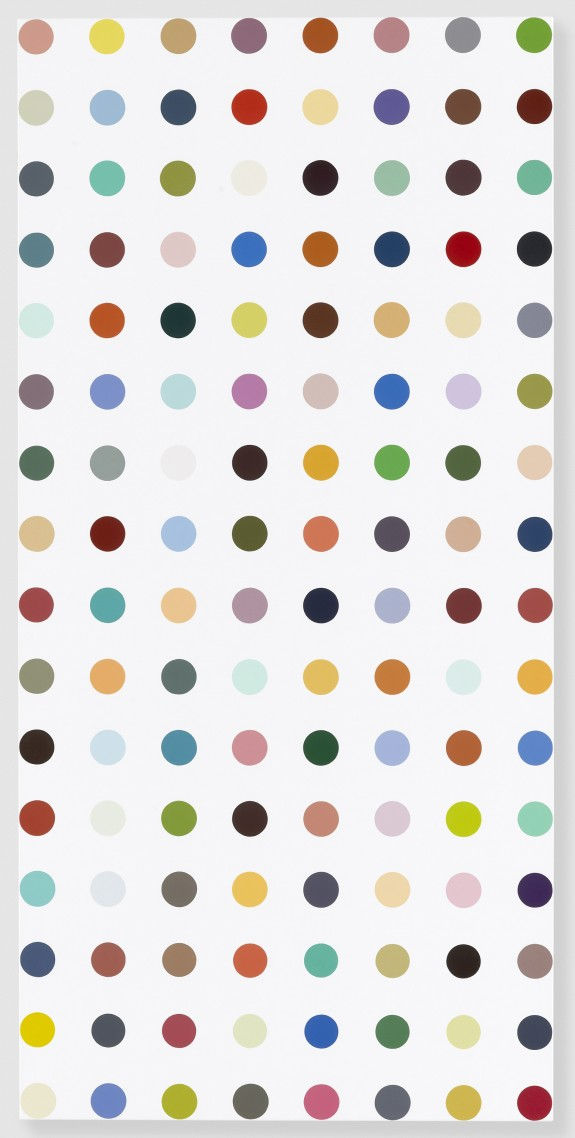 Famotidine, 2004-2011 Household gloss on canvas 62 x 30 inches 157.5 x 76.2 cm Photographed by Prudence Cuming Associates © Damien Hirst and Science Ltd. All rights reserved, DACS 2011, Courtesy Gagosian Gallery