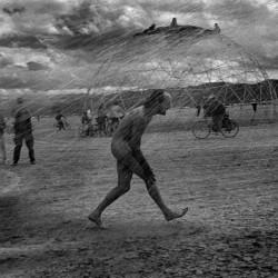 USA. Nevada. Black Rock City. Burning Man Festival. Improvised shower. 2000