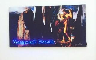 Viaggio nell'eternità, 1996-2004, tecnica mista su tela, neon