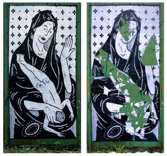 La Madonna prima e dopo lo strappo