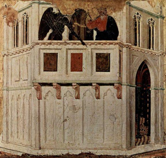 Tentazione di Cristo sul Tempio di Duccio di Buoninsegna, Museo dell'opera del Duomo di Siena