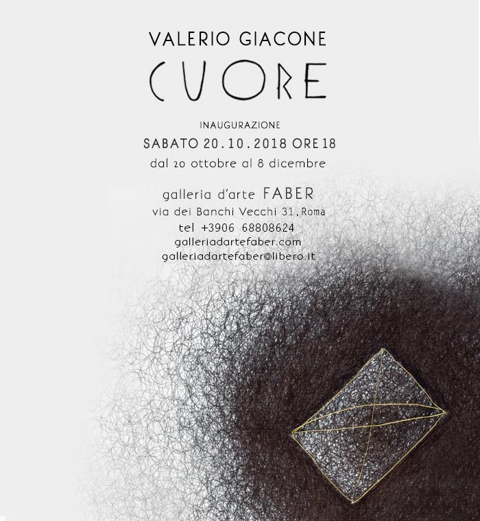C u o r e, mostra personale di Valerio Giacone alla galleria FABER di Roma